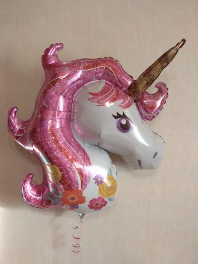 Единорог с розовой волшебной гривой фольгированный шар с гелием
