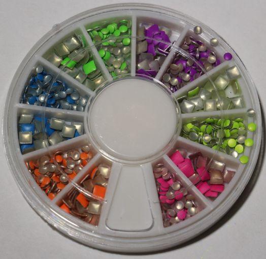 Карусель клепки кислотного цвета круглые, квадр-е, мелкие fdd