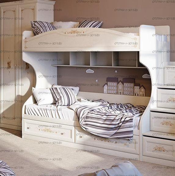 Кровать двухъярусная Лючия СМ-235.11.01 с приставной лестницей