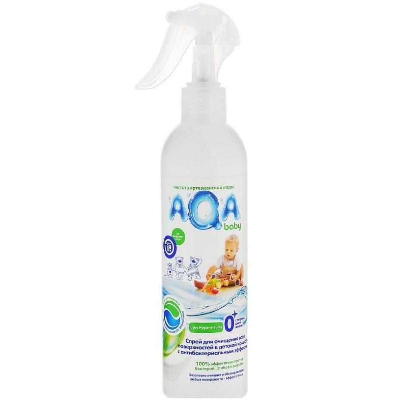 AQA baby Спрей для очищения всех поверхностей в детской комнате с антибактериальным эффектом, 300 мл
