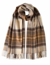Роскошная классическая шотландская  шаль, высокая плотность, 100 % драгоценный кашемир ,  Тартан Стюарт  , натуральный вариант (премиум) Natural Dress Stewart