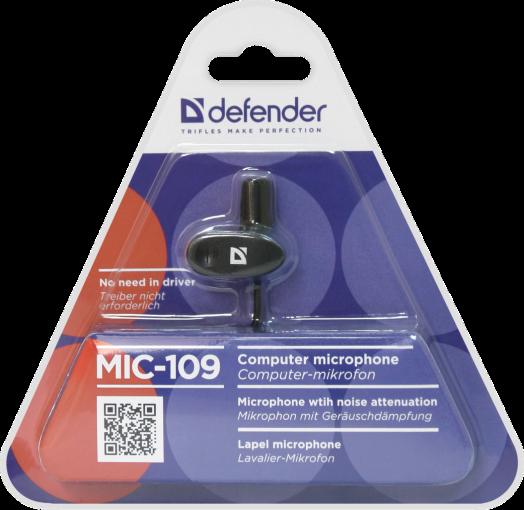 Микрофон ПК Defender MIC-109 черный, на прищепке, 1,8 м