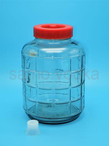 Стеклянная (бутыль) Банка 18 литров с гидрозатвором