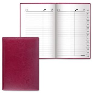 "Телефонная книжка А5, 136х202 мм, 96 л., BRAUBERG, вырубной алфавит, ""Imperial"", под гладкую кожу, бордовая, 123507"