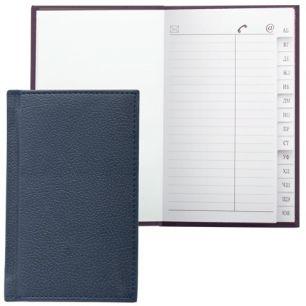 """Телефонная книжка А7, 80х130 мм, 56 л., BRAUBERG, вырубной алфавит, """"Favorite"""", под классическую кожу, темно-синия, 123510"""