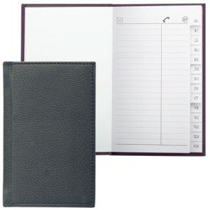 """Телефонная книжка А7, 80х130 мм, 56 л., BRAUBERG, вырубной алфавит, """"Favorite"""", под классическую кожу, черная, 123511"""