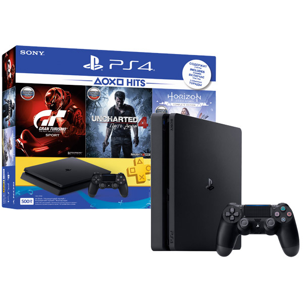Игровая приставка Sony Playstation 4 Slim 500 ГБ (CUH-2208A) + 3 игры + PS Plus 3 месяца
