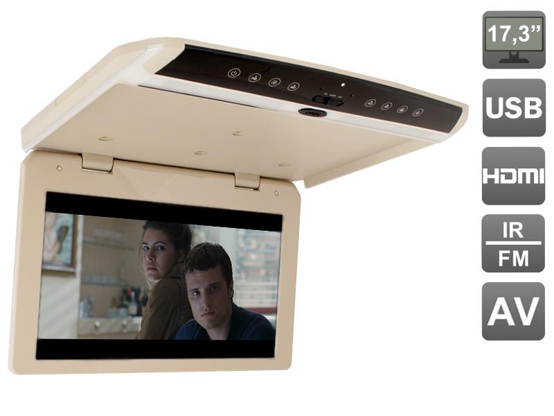 """AVIS Electronics AVS1750MPP (бежевый) Автомобильный потолочный монитор 17,3"""" со встроенным FULL HD медиаплеером"""