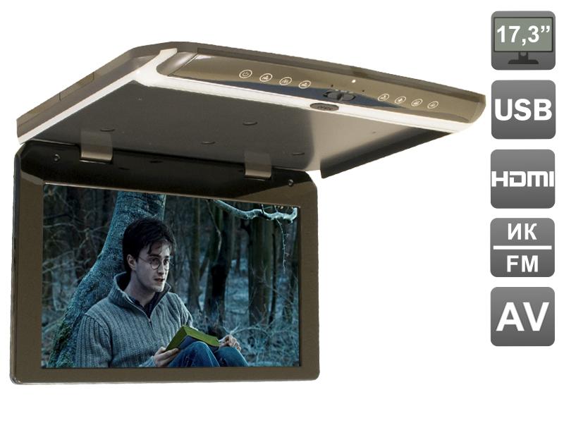 """AVIS Electronics AVS1750MPP (тёмно-серый) Автомобильный потолочный монитор 17,3"""" со встроенным FULL HD медиаплеером"""
