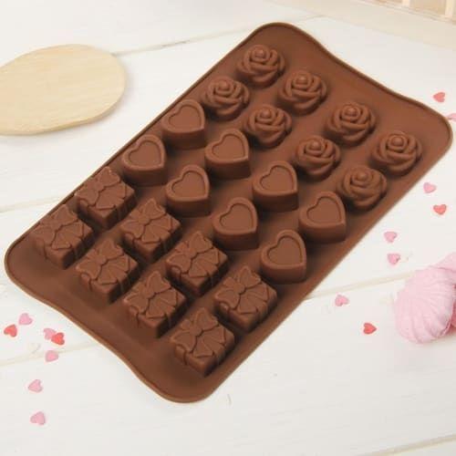 "Форма для шоколада, 24 ячеек,  ""Подарок,сердце,роза"", цвета МИКС"