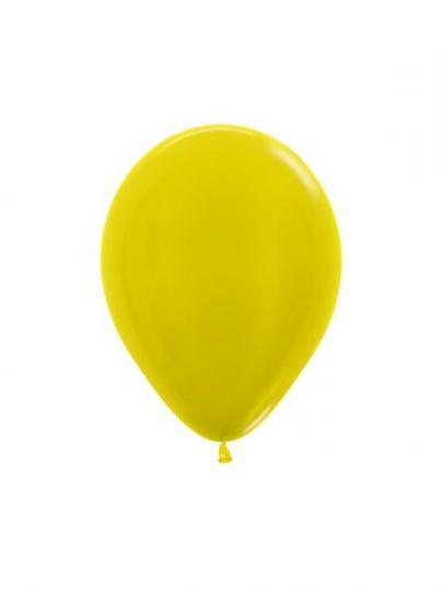 МИНИ желтый металлик латексный шар маленького размера с гелием