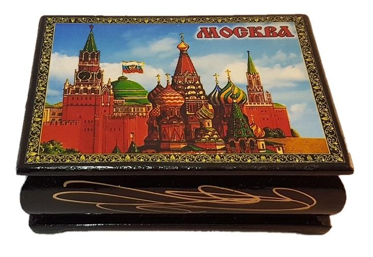Шкатулка деревянная Москва 10х7,5см.