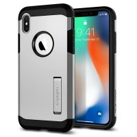 Чехол Spigen Tough Armor для iPhone X серебристый