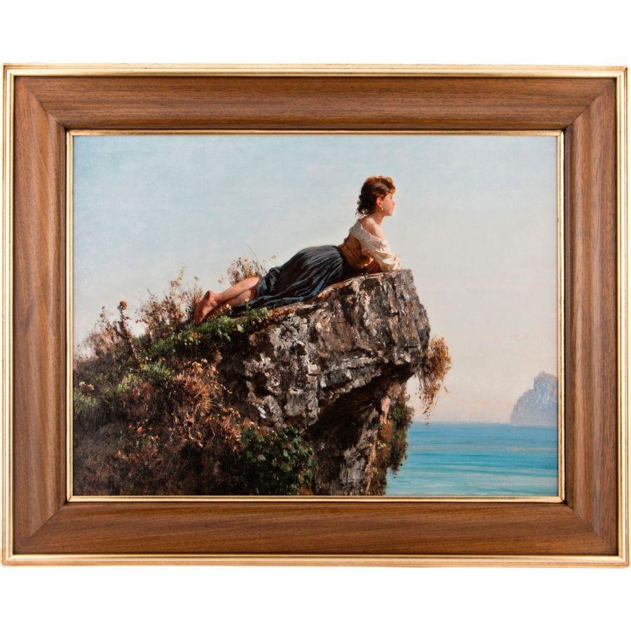 """Картина """"Девушка на скале в сорренто"""", 60x80/82x102x3 см., без упаковки"""