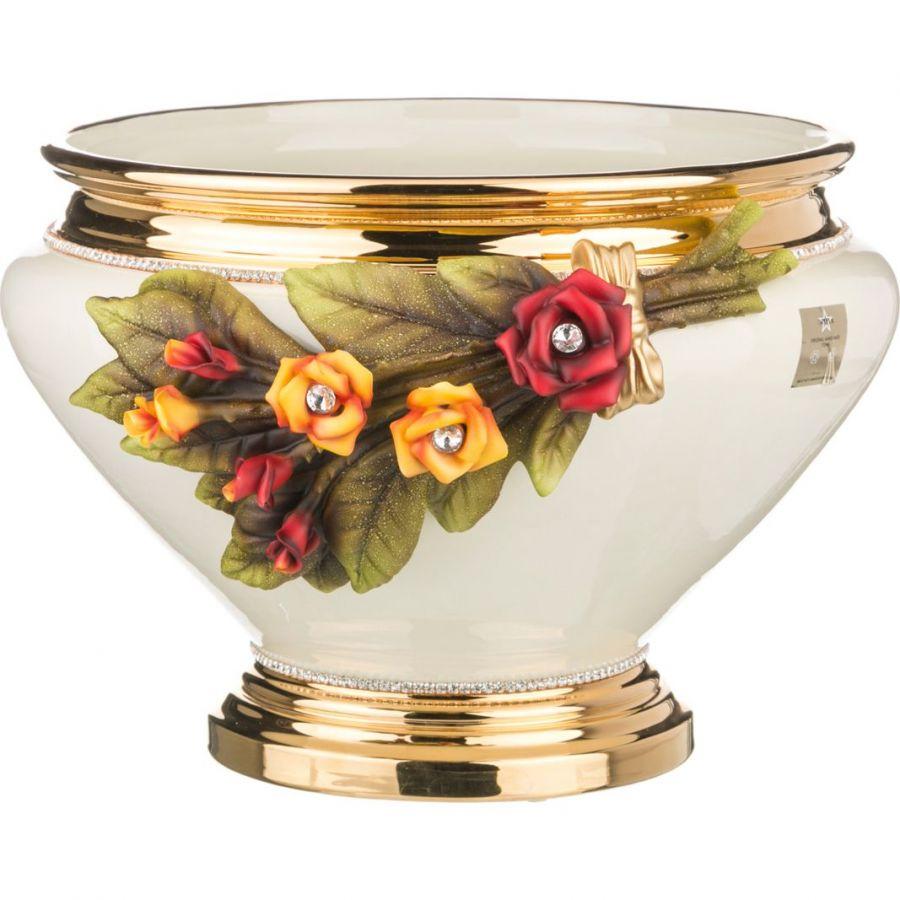 """Кашпо под цветы """"Розы"""", кремовая, h=28 см., 40 см."""