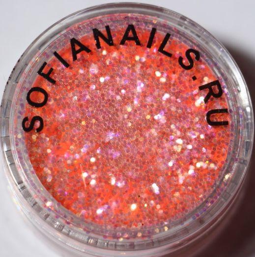 Блестки П156 зеркальный блеск (эффект чешуи) Германия Розово-персиковый с золотым искрящимся оттенком (крупный помол).