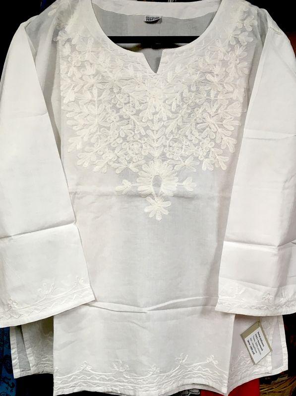 Женская белая индийская рубашка с вышивкой XXXL (СПб)