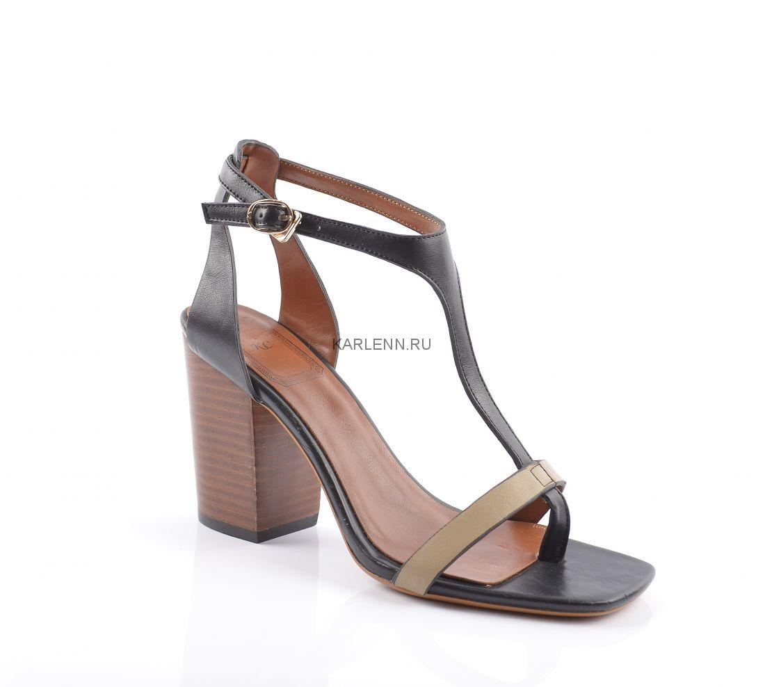 Босоножки на каблуке КС (черные)