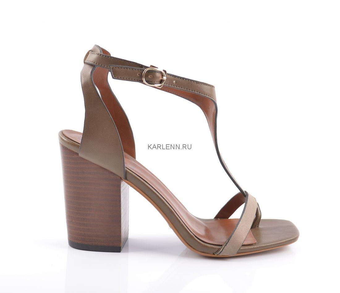Босоножки на каблуке КС (бежев-коричневые)
