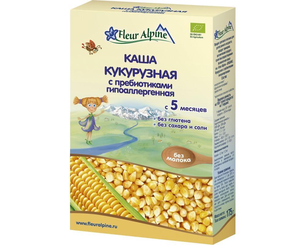 Флёр Альпин - каша Органик кукурузная с пребиотиками гипопллергенная, 5 мес., 175 гр.
