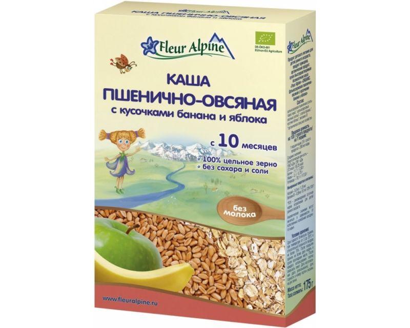 Флёр Альпин - каша Органик пшенично-овсяная с кусочками банана и яблока, 10 мес, 175гр.