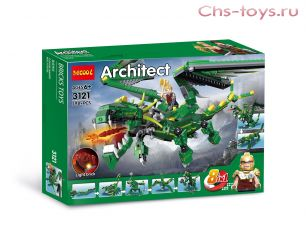 Конструктор Decool Architect Зеленый дракон 8 в 1 3121 (Аналог LEGO) 598 дет