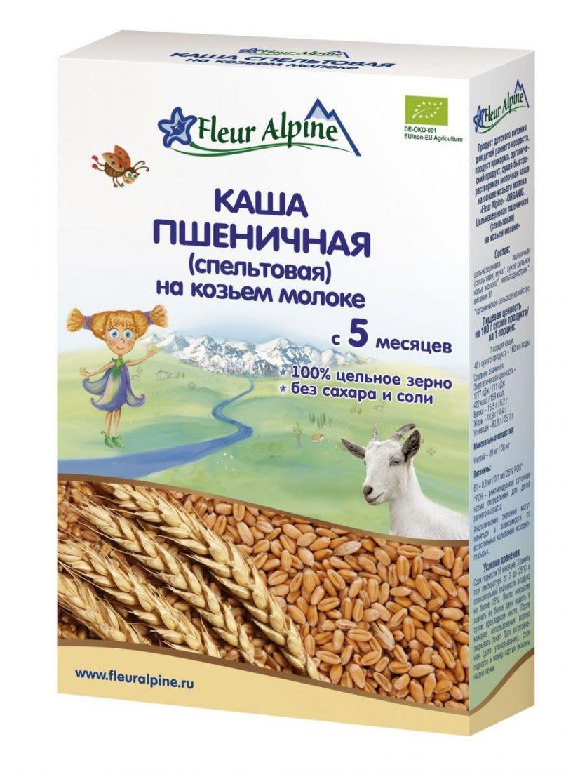 Флёр Альпин - каша на козьем молоке Органик пшеничная (спельтовая), 5 мес., 200 гр.