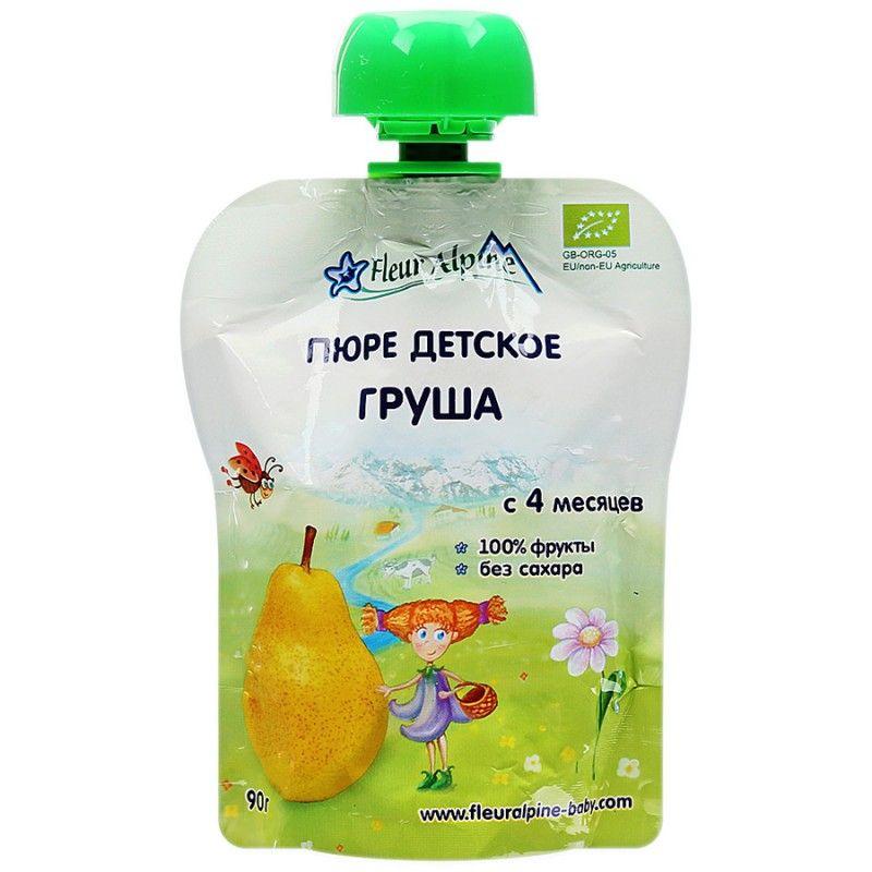 Флёр Альпин - пюре Органик груша с 4 мес., 90 г. мягкая упаковка