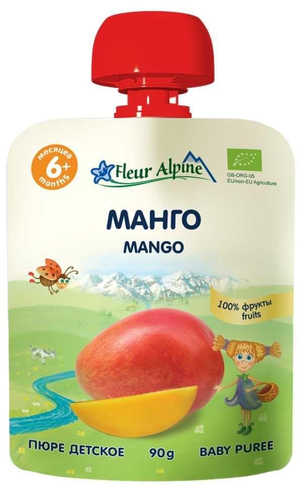 Флёр Альпин - пюре Органик манго с  6 мес., 90 гр. мягкая упаковка