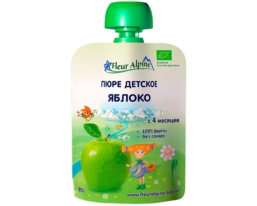 Флёр Альпин - пюре Органик яблоко с 4 мес., 90 г. мягкая упаковка