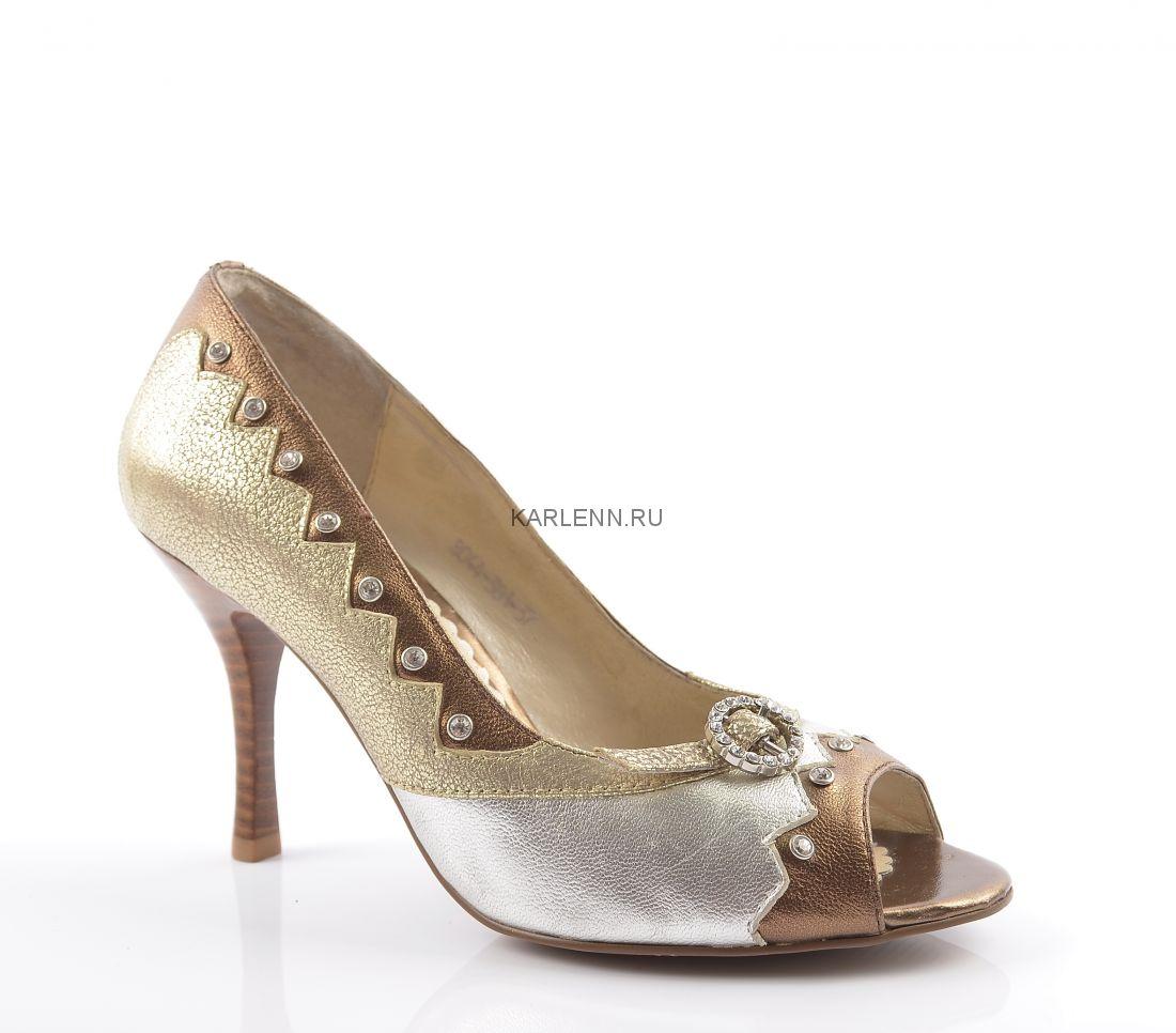Туфли с открытым мысом Mativi (серебристо-золотистые)