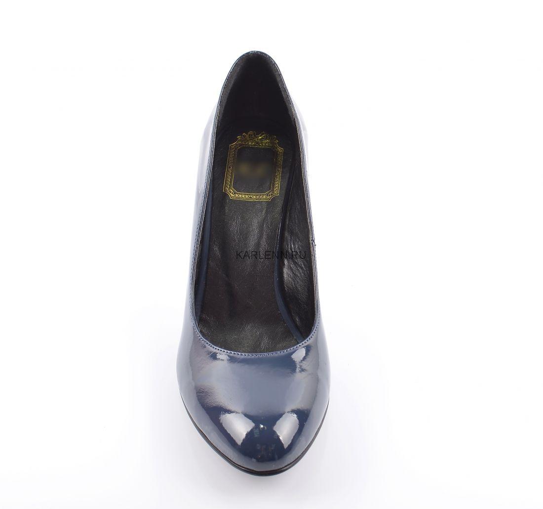 Туфли-лодочки на низком каблуке KC (синие)