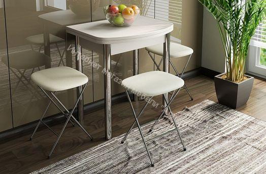 Стол обеденный с хромированными ножками «Лион (мини)» Дуб белфорд