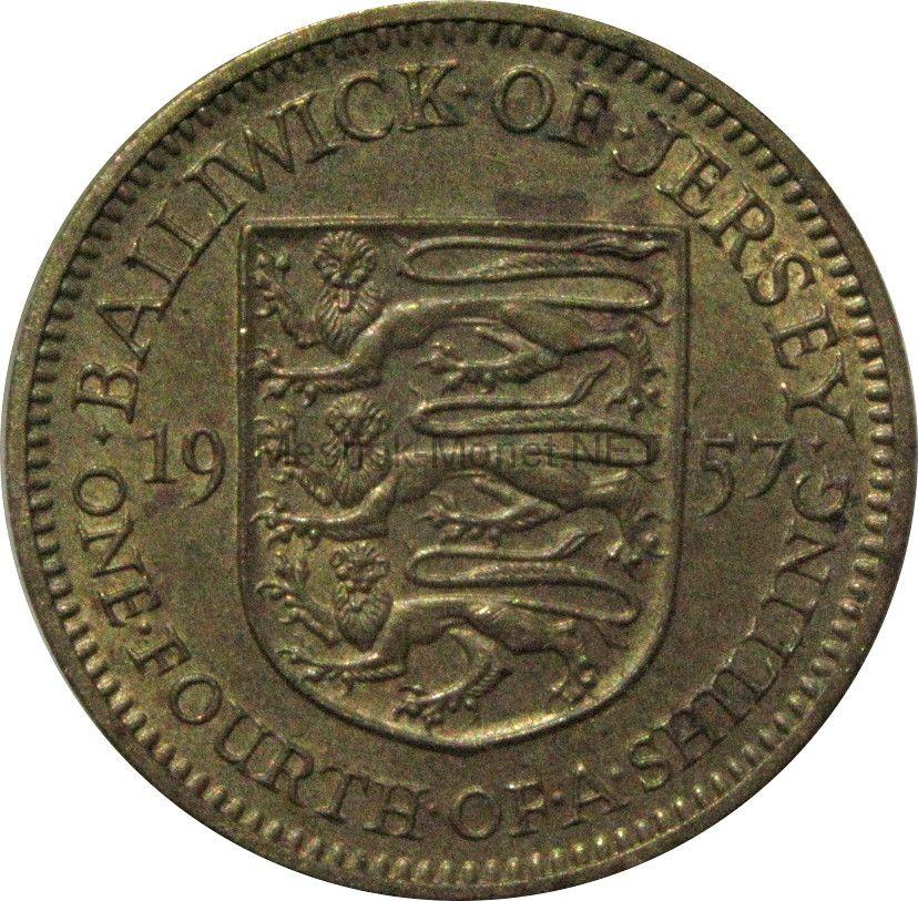Остров Джерси 1/4 шиллинга (3 пенса) 1957 г.