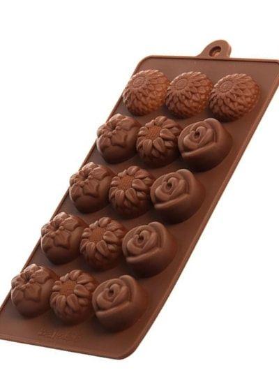 "Форма для льда и шоколада, 15 ячеек, 20,5х10,5х1,5 см ""Клумба цветов"""