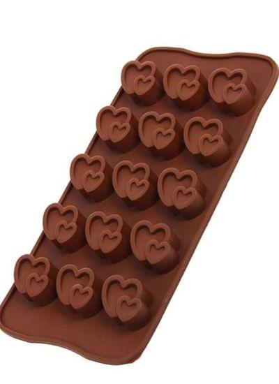 """Форма для льда и шоколада, 15 ячеек, 20,7х10,7 см """"Двойное сердце"""", цвета МИКС"""