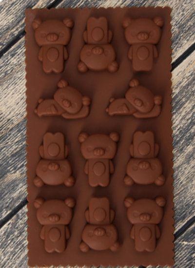 "Форма для льда и шоколада, 11 ячеек, 21х12х1,5 ""Мишки"""