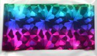 Фольга для дизайна ногтей, литья (переводная). Цвет: радуга крупные осколки сиренево-сине-голубая (Размер: 4см на 1 метр)