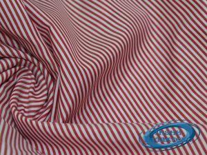 Рубашечная ткань полоска 16859/C#2 белая -красная