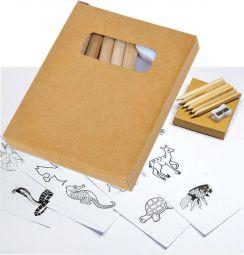 наборы цветных карандашей 6 штук с раскраской и точилкой