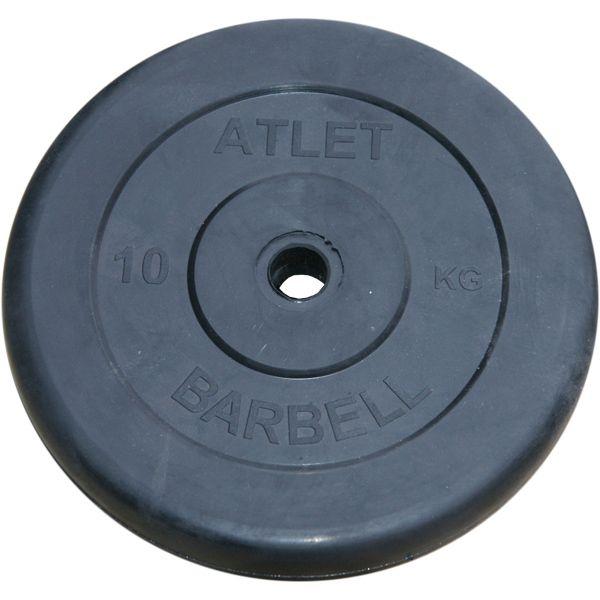 Диски обрезиненные, чёрного цвета, 26 мм, Atlet MB-AtletB26-10