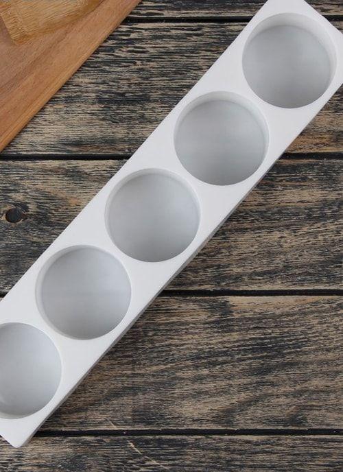 """Форма для выпечки и муссовых десертов, 5 ячеек, 39х8х5 см """"Круг"""", цвет белый"""