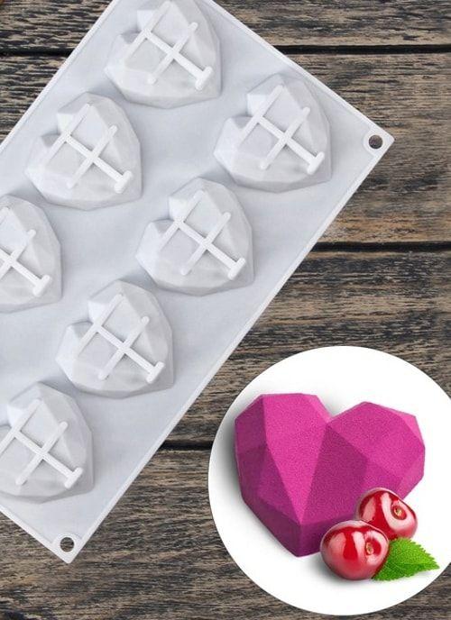 """Форма для выпечки и муссовых десертов, 8 ячеек, 29х17х2 см """"Сердце. Геометрия"""""""