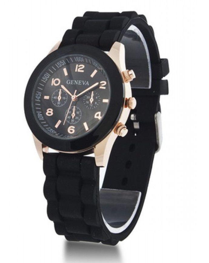 Черные наручные часы Geneva