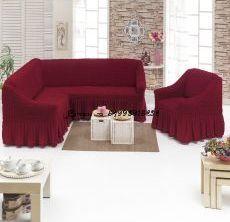 """Набор чехлов на 1 угловой диван и 1 кресло """"Бордовый"""""""