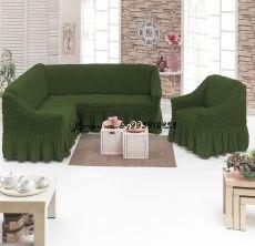 """Набор чехлов на 1 угловой диван и 1 кресло """"Тёмно-Зелёный"""""""