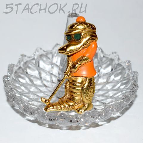 """Брошь """"Крокодил играет в гольф"""" цвет античного золота (Danecraft США)"""