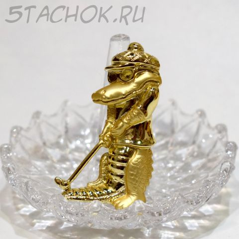 """Брошь """"Крокодил играет в гольф"""" цвет золота (Danecraft США)"""