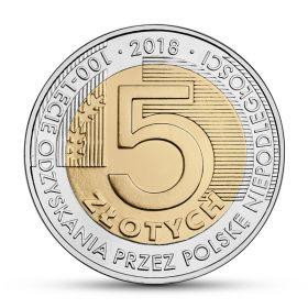 100 лет восстановления независимости 5 злотых Польша 2018