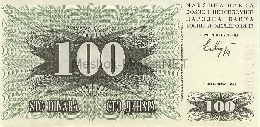 Банкнота Босния и Герцеговина 100 динар 1992 год